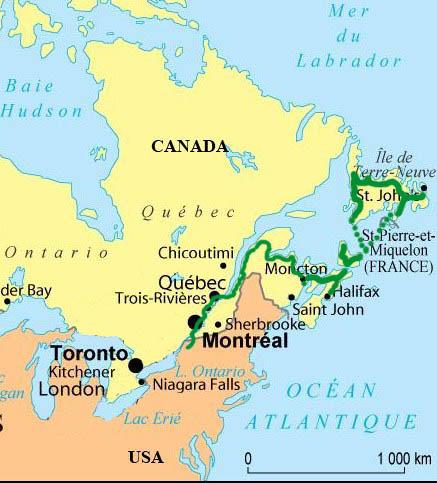 Carte Canada Chicoutimi.Exploracy Les Pays Visites